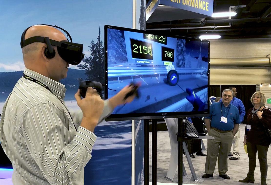 Customer playing VR game